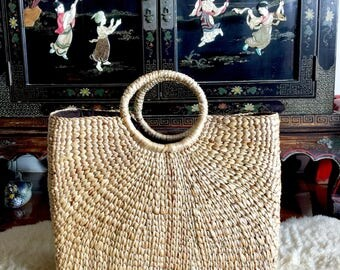 Handwoven Market Straw Tote,Straw Bag,Picnic Basket,Picnic Tote,Market Straw Bag,Straw Beach Bag,French Market Straw Tote,Straw Purse Tote
