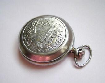 Vintage pocket watch USSR. Soviet mechanical pocket watch Molnija.
