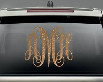 Monogram Car Decal, Glitter Monogram Window Vehicle, Monogrammed Sticker, Initials Decal, Monogram For Women, Girls Decal, Personalize Decal