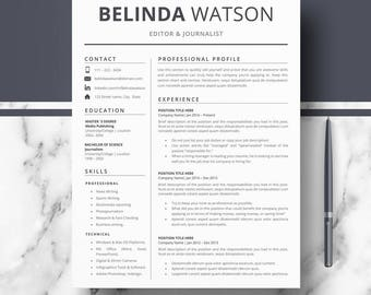Professional Resume, CV Template; Modern Resume, CV for Word & Pages; Minimalist Resume, CV + Cover letter + tips; Instant Download resumes
