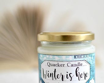 Winter is here -soy candle inspired by book, soy candle, bookish candles, literary candle, got, book lover, book candles, game of thrones