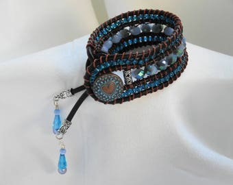 Dark brown leather cuff wrap bracelet with blue silver glass beads copper heart button catseye pearl drops