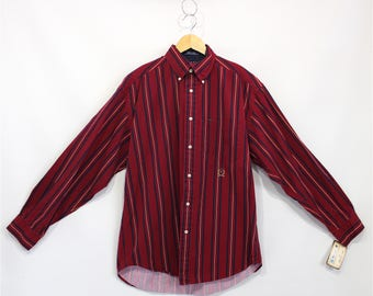 Vintage Clothing •1990's Menswear •Casual Long Sleeve Button Down  • Tommy Hilfiger •Maroon•Preppy Plaid 90's Street Wear