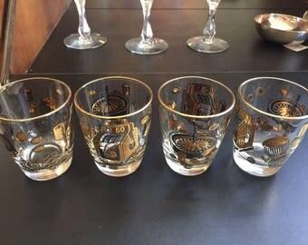 Vintage Black and Gold MCM Gambling Barware - set of four