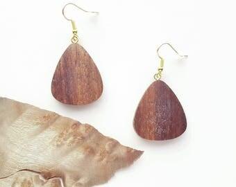 Walnut wooden earrings - GitarPick/ Unique woman gift / Gift Me Gitar / Gift me Love