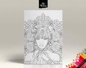 Coloriage - Femme au Mandala - Portrait 3 - Page de coloriage pour adultes - Dessin HD à imprimer soi-même