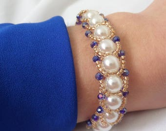"""""""Tender"""" bracelet with pearls and gold and blue beads, perfect gift for her from YaroslavaArt."""