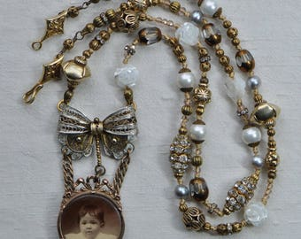 Le Bébé Antique French Photograph Reconstructed Jewelry Assemblage Necklace with Filigree Bow Sterling Vermeil Silk Gold Toned