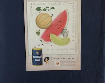 Vintage Morton Salt Ad, Any Melon Worth Its Salt
