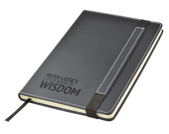 Engraved leather PU notebook journal personalised gift idea, BOOK of WISDOM note book - 1875-LN10