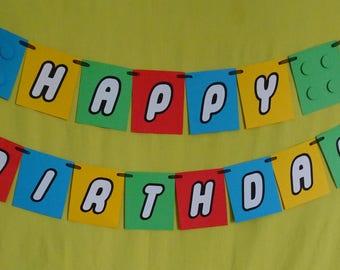 Lego Theme Happy Birthday/Party Banner