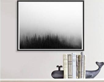 Mountain Photography, Trees in Fog Nature Art Print, Landscape Photo, Large Wall Art Tree Print, Back and White Photo, Minimalist Art