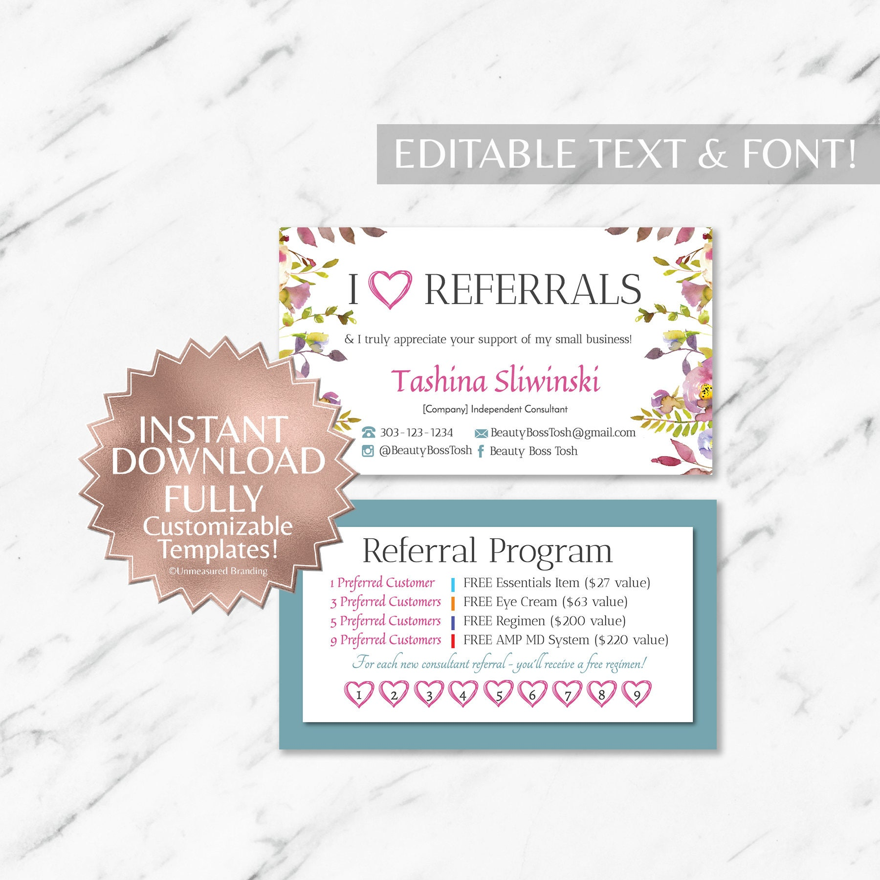 floral and teal referral and business cards instant template