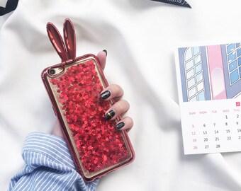 Glitter Phone Case-Glitter iPhone Case-Bunny iPhone Case-Red iPhone Case-iPhone 6 Case-iPhone 7 Case-Heart Phone Case