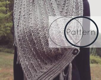 Crochet Triangle Scarf Pattern/ Chunky Blanket Scarf with Fringe Pattern/ Crochet Bulky Cowl/ Easy Stylish Crochet Pattern/ The Odette