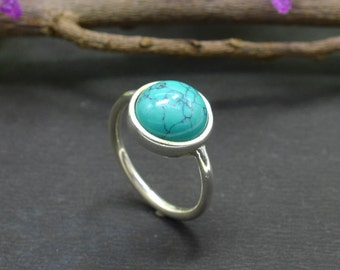 Natural Turquoise Round Gemstone Ring 925 Sterling Silver R313