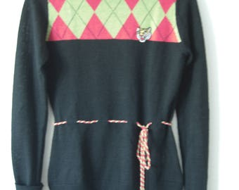 Knit Women sweater//wool, acrylic//small size//vintage black Pullover with Application
