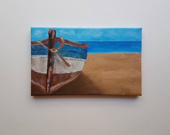 Small Canvas Art, Gift ideas, Sea Boat,  Original Acrylic Painting, Miniature Canvas, Boat artwork, boat painting, summer painting, sea art