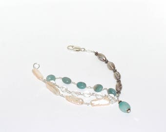 Amazonite, Quartz & Fresh water pearls bracelet with sterling silver lobster clasp