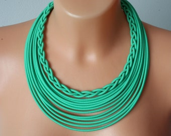 Bohemian jewelry - Statement mint necklace - Tribal textile jewelry - Multistrand Necklace - African Multistrand Jewelry -Ethnic Jewelry