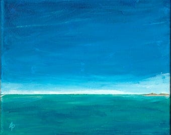 DISTANT LANDS #4 – OOAK Acrylic on Canvas Seascape Painting by Annie Palone