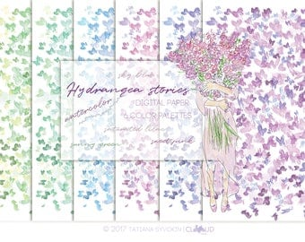 Purple digital paper Digital paper pack Floral digital paper Digital scrapbooking Watercolor paper Hydrangea flowers Watercolor Pink flowers
