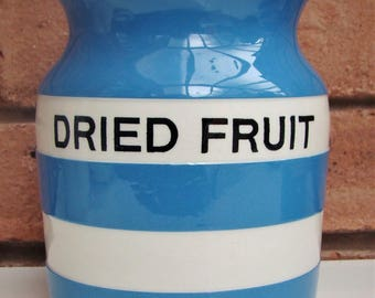 "T G Green CORNISHWARE ""Dried Fruit"" 5 3/4"" Storage Jar from Church Gresley Cornish Ware"