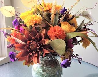 Rose Flower Arrangement, Artificial Flower Decor, Silk Flower Centerpiece, Rustic Arrangement, Pretty Table Decor, Daisy Centerpiece, Faux