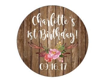 Custom Birthday Party Favor Stickers Custom Date Labels Tags Floral Antlers Branch Flowers Watercolor Rustic Warm Wood Candy Bags Buffet