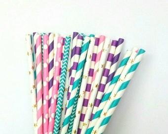 Mermaid Paper Straws - Pink, Purple, Teal, & Gold Drinking Straws - Mermaid Birthday Decorations - Mermaid Party Decorations - Pink and Teal