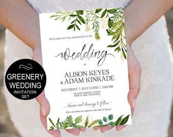 Rustic Wedding Invitation Template-Greenery Watercolor Wedding - Leaves Wedding Invitation-DIY Editable PDF-Download Instantly| VRD150AF