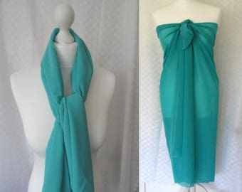 Turquoise scarf, Chiffon scarf,  Scarf for her, Lightweight scarf, Fashion scarf, Shawl, Mini sarong