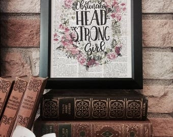 Obstinate Headstrong Girl - Jane Austen Quote - Pride and Prejudice - Dictionary Page Print - Framed Wall Art