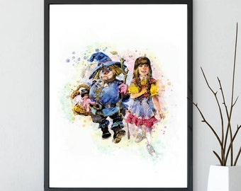 The Wonderful Wizard of Oz print, Watercolor Art, The Wonderful Wizard of Oz, House Wear Wall Decor Gift Linen Print