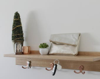 Entryway Organiser - Key Holder - Floating Shelf - Key Hooks - Entry Shelf -Entryway Organiser with Magnetic Key Hooks