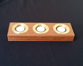 Sapele Tea Light Holder With Copper Or Brass Inserts