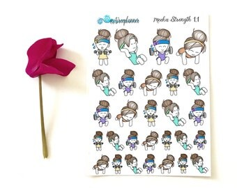 Meeka - Strength Training Workout Exercise Planner Stickers - Aireeplanner