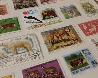 25  World Wide Animal Postage Stamps