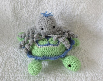 Turtle and octopus dolls with bib and burp cloth for newborn