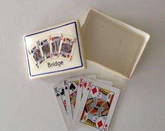 Playing Card Box - Lusterware - Made in Czechoslovakia - Bridge - Kings - Vintage