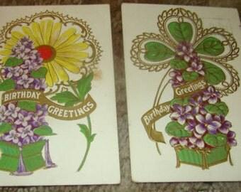 2 Vintage Floral Postcards