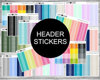 Plum Paper Planner Sticker Headers - To DO - Kindy - To clean - Work - day care - exercise - meals - school - study - to email Lily and Lion