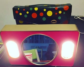 Mod-Glo Vanity Mirror with Lights - Pink with Mod Case - 1970s - Makeup - Works Great - Retro Appliance