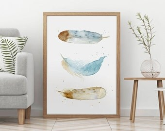 3 FEATHERS PAINTING WATERCOLOR, Three Bronze Blue Feathers, Nursery Kids Room Wall Art Print, Home Living Room Bedroom Decor, Giclee Print