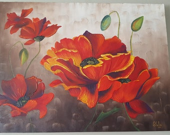 Large Red Poppies Original Painting Acrylic Artwork Oil Painting