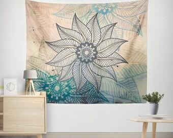 Mandala Wall Tapestry,Mandala Tapestries,Bohemian Wall Tapestry,Bohemian Tapestry,Boho wall decor,Boho Tapestries, Floral Mandalas