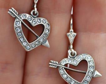 Vintage Silver Heart Earrings