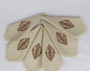 set of 6 Fringed Embroidered Table Napkins / Beige Geometric Design