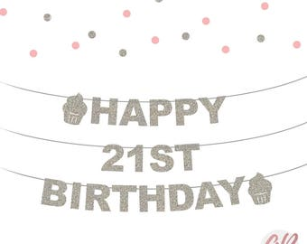 21st Birthday banner | Happy birthday bunting | 21st birthday decor | Glitter banner | Party banner decoration | Party decor | Age banner