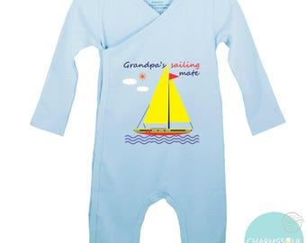 Grandpa's sailing mate Organic Baby Kimono and Onesie